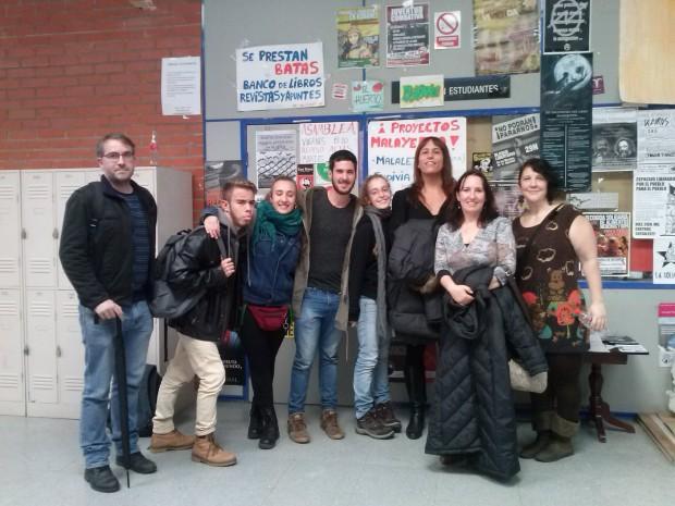 Algunxs miembros de Malayerba junto a Alicia Ramos, Violeta Herrero y Saida García.