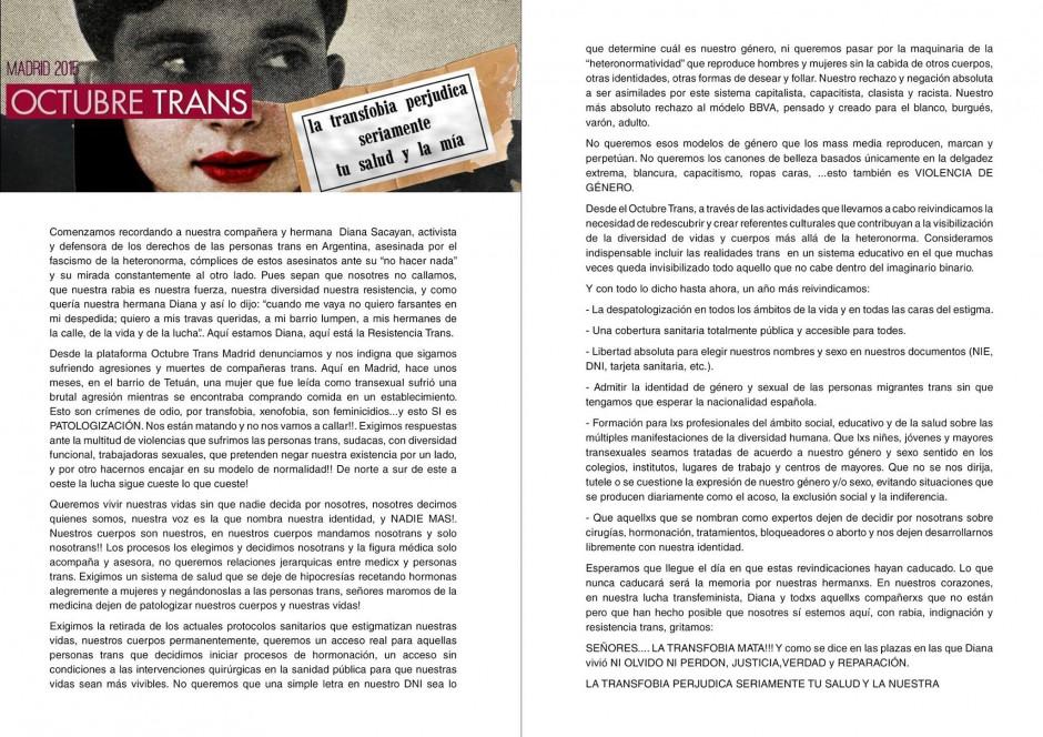 Manifiesto octubre Trans Madrid
